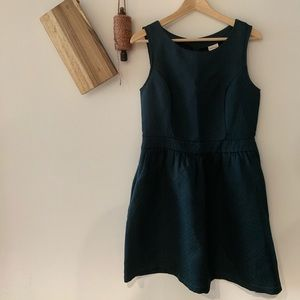 Dark green jacquard target dress